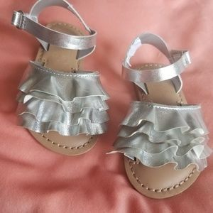 Silver kids size 4 sandals baby girl ruffle strap